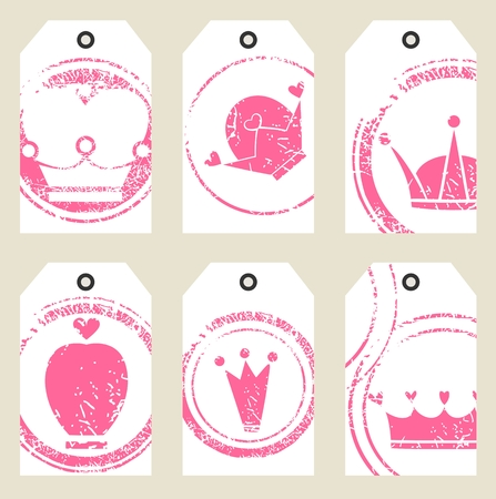 Tags with crowns. Illustration