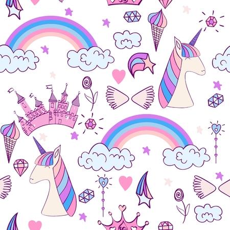 Magic cute unicorn Vector illustration.