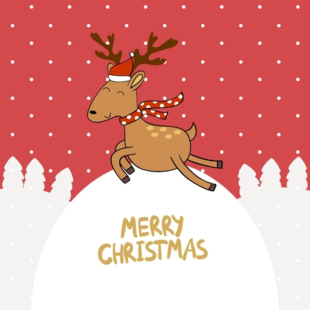 Merry Christmas and Happy New year. Christmas reindeer, vector illustration.