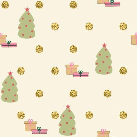 陽気なクリスマスと幸福な新しい年。シームレスなパターン、ベクトル図です。