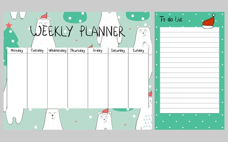 Christmas weekly planner Stock Photo