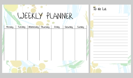 Abstract weekly planner Çizim