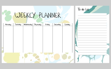 Abstract weekly planner Vectores
