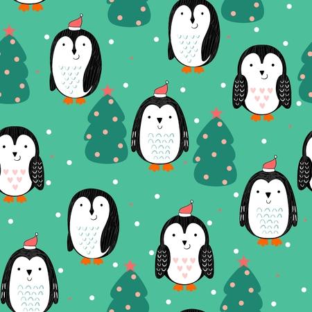 Penguin Vector seamless pattern