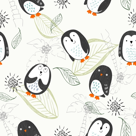 Penguin Vector seamless pattern