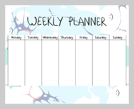 Hand drawn vector weekly planner. Abstract painting templates. 일러스트