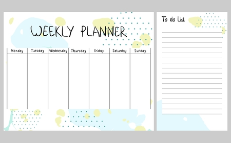 Hand drawn vector weekly planner. Abstract painting templates. Stock Illustratie