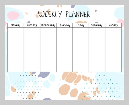 Hand drawn vector weekly planner. Abstract painting templates. 向量圖像