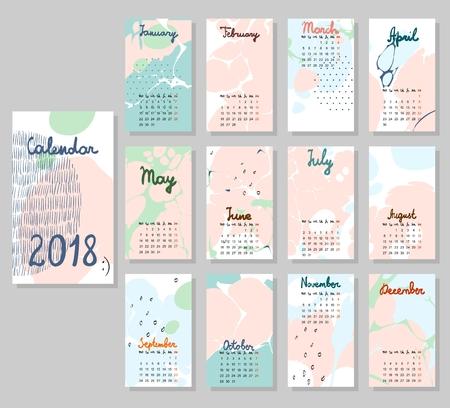 Cute Calendar 2018 vector template Illustration