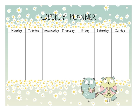 Hand drawing vector weekly planner with owls. Çizim