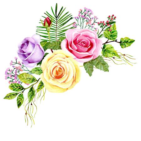 aquarel boeket rozen Stockfoto