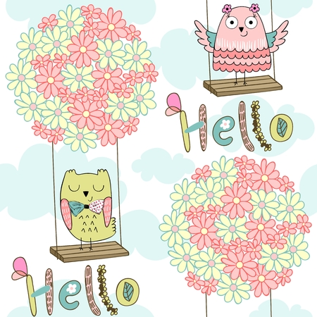 Cartoon owls on a flower swing in the clouds. Seamless pattern.