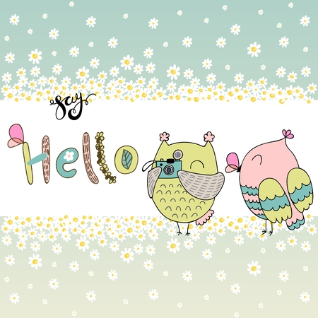 Card with cartoon owls in bright colors. Say hello.