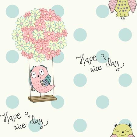 Cartoon owls on a flower swing. Seamless pattern.