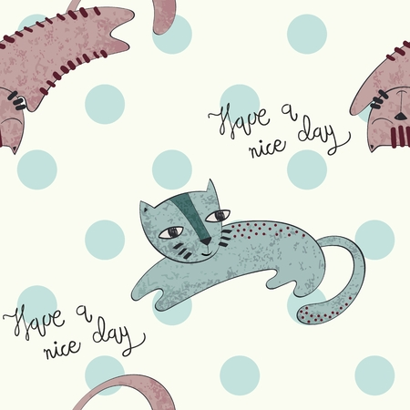 Seamless pattern of cats and have a nice day inscription on polkadot wallpaper vector illustration