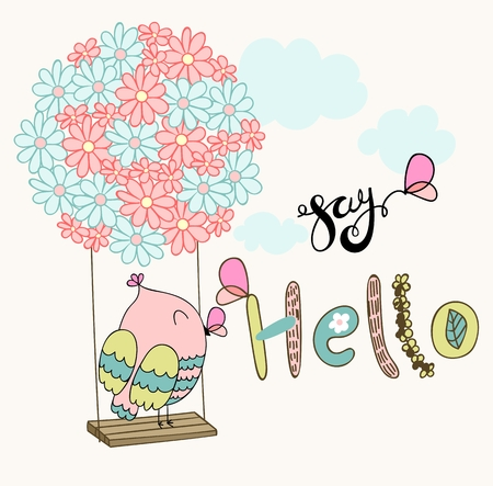 Card with cartoon owl on a flower swing in the clouds. Say hello. Illustration