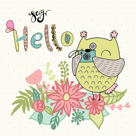 Vector cartoon owl holding camera, child decoration Illustration