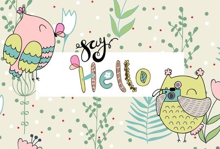 Vector cartoon owl Illustration