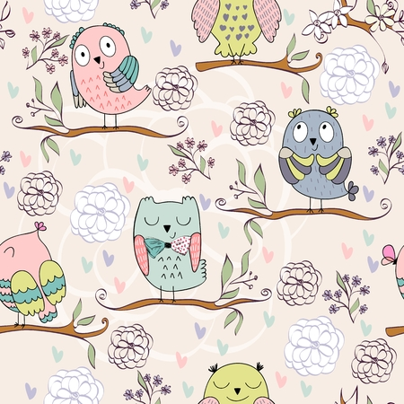 Vector seamless pattern with owls and flowers Stock Illustratie