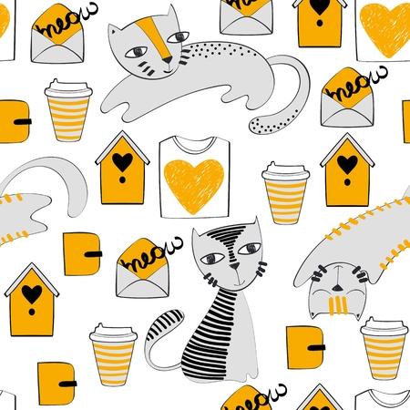 Vektor Hand gezeichnet nahtlose Muster mit Katzen Standard-Bild - 94776914