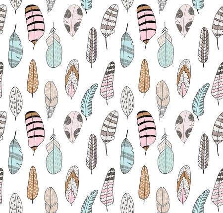 hand drawn seamless pattern with stylized bird feathers. Illustration