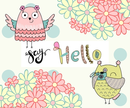 Card with cartoon owl in bright colors. Say hello.