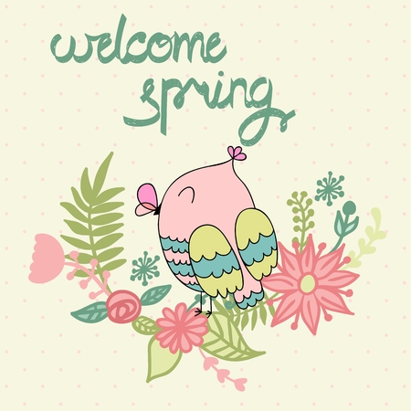 Card with cartoon owl in bright colors. Welcome spring. Illustration