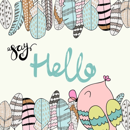 Card with cartoon owl and feathers in bright colors. Say hello.