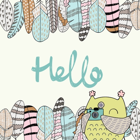 Card with cartoon owl and feathers in bright colors. Hello. Illustration