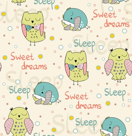 Cartoon Sleeping owls pattern design