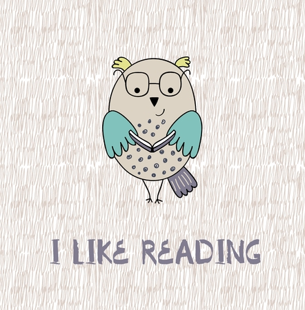 I like reading text with owl bird illustration