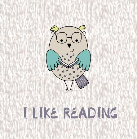 I like reading text with owl bird illustration