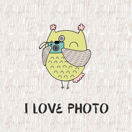 I like photo owl taking picture illustration