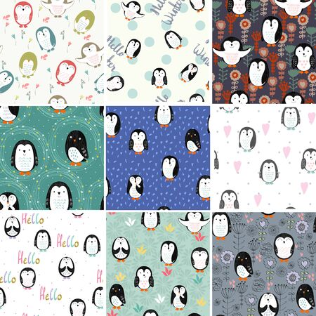 seamless patterns set Vector illustration.