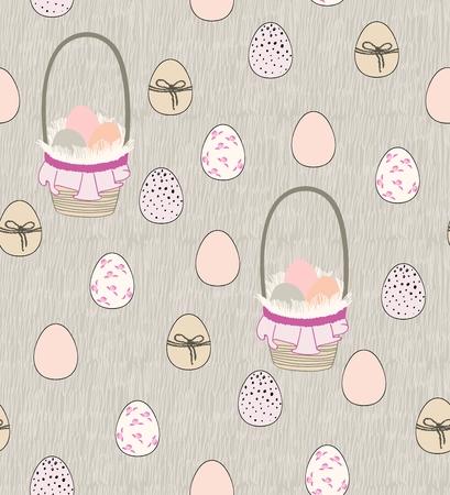 부활절 달걀과 바구니의 완벽 한 패턴 벡터
