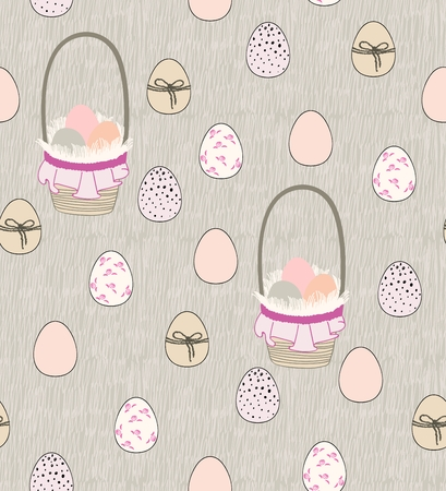 Vector seamless pattern of easter eggs and baskets