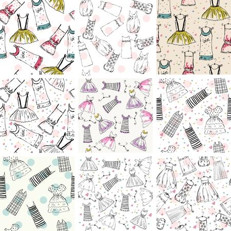 Vector seamless pattern set of clothes Imagens - 96869458