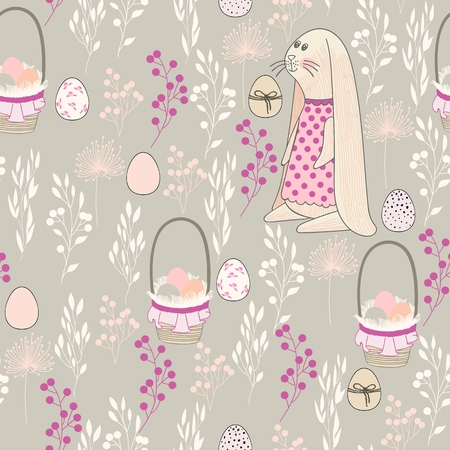 Vector seamless pattern of bunny and basket of eggs