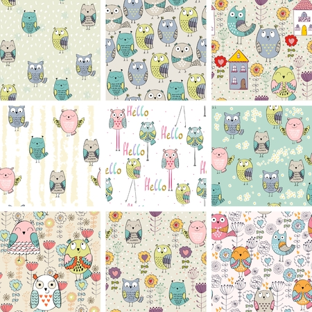 Vector seamless pattern set of colorful cartoon owls Stock Illustratie