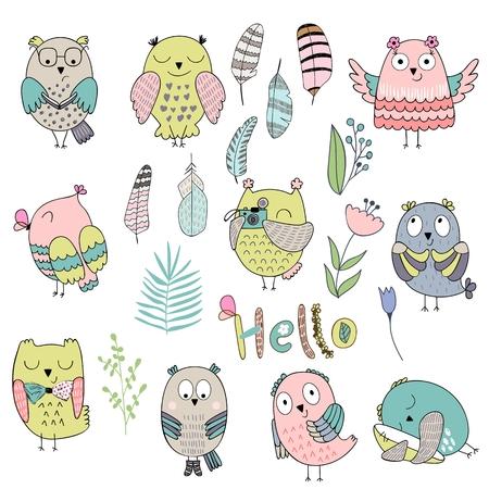 Vector cartoon owls set with Hello text illustration. Illustration