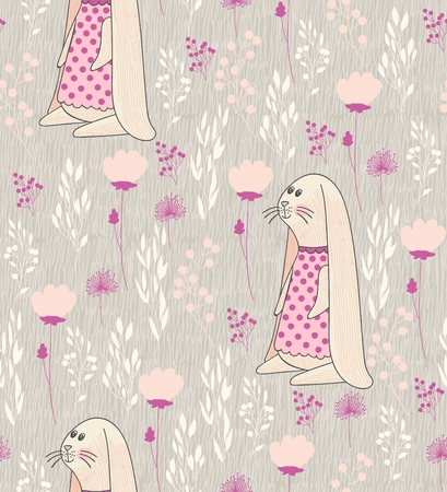 Vector seamless pattern with flowers and bunnies