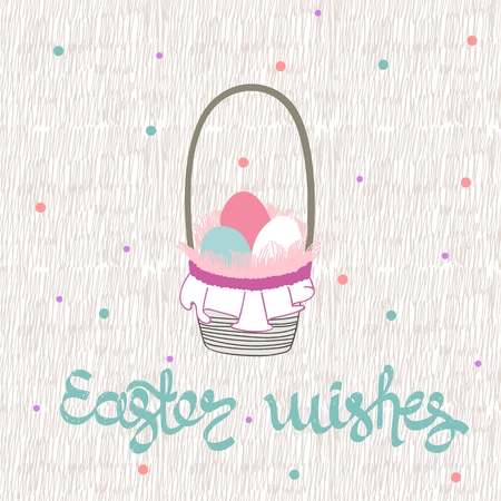 Easter greeting card with basket of eggs
