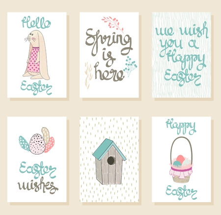 Vector set of Easter cards with bunny and eggs. Illustration