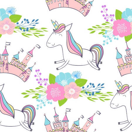 Magic cute unicorns with castle. Vector seamless pattern