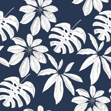 Tropical seamless pattern Çizim