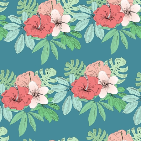 Tropical seamless vector pattern with leaves and flowers.