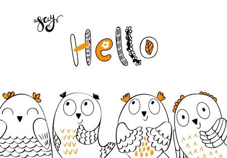 Vector cartoon owls Illustration
