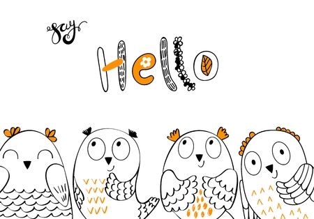 Vector cartoon owls Stock Illustratie