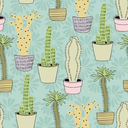 サボテン植物のベクトルシームレスパターン