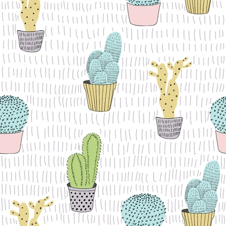 Vector seamless pattern of cactus plants